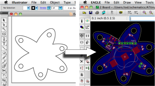 From Illustrator to Eagle: Vector graphics in circuits – todbot blog