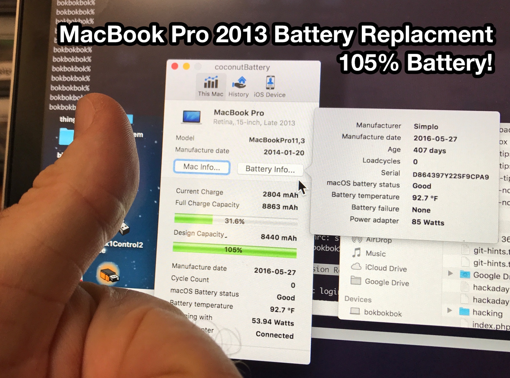 Replacing the battery in a Macbook Pro Retina (late 2013